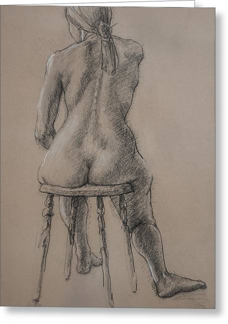 Residential Drawings Greeting Cards - Seated Figure Greeting Card by Sarah Parks