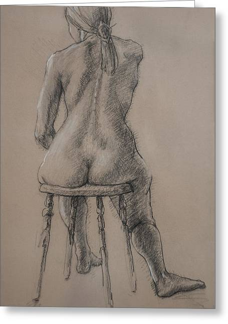 Office Space Drawings Greeting Cards - Seated Figure Greeting Card by Sarah Parks