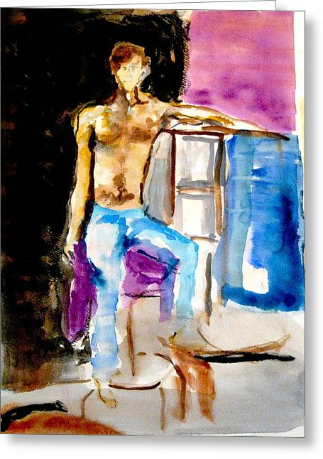 Seated Male Greeting Card by James Gallagher