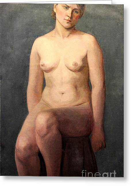 Seated Woman Greeting Card Greeting Cards - Seated Nude 1926 Greeting Card by Art By Tolpo Collection