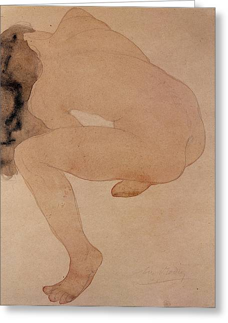 Twisting Greeting Cards - Seated Nude Bending Over Pencil & Wc On Paper Greeting Card by Auguste Rodin