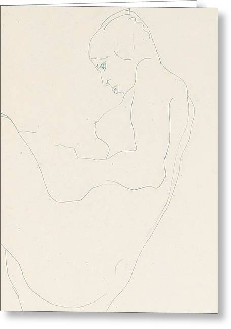 Schiele Drawings Greeting Cards - Seated Nude Greeting Card by Egon Schiele