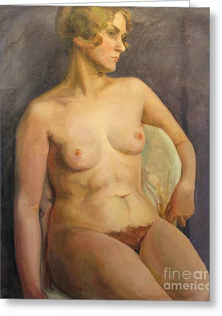Seated Woman Greeting Card Greeting Cards - Seated Nude II 1929 Greeting Card by Art By Tolpo Collection