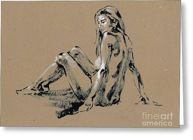 Sit-ins Drawings Greeting Cards - seated Nude Greeting Card by Konstantin Boreo