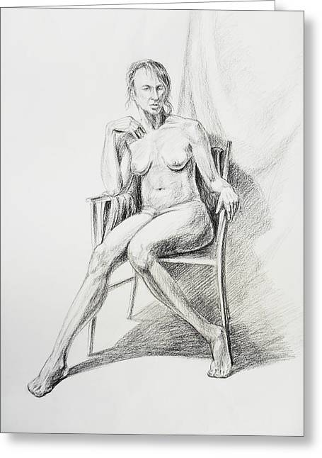 Gestures Drawings Greeting Cards - Seated Nude Model Study Greeting Card by Irina Sztukowski