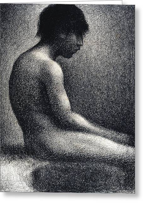Seurat Greeting Cards - Seated Nude Study Greeting Card by Georges Seurat