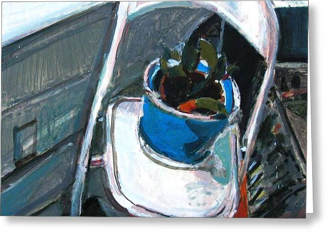 Interior Still Life Paintings Greeting Cards - Seated Plant Folding Chair Greeting Card by Anita Dale Livaditis