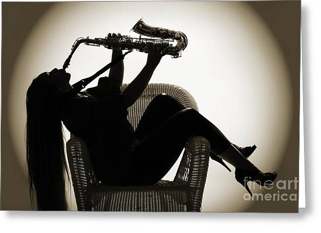 Saxophone Photographs Greeting Cards - Seated Saxophone playere Greeting Card by M K  Miller