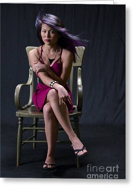 Magenta Dress Greeting Cards - Seated Tricia Greeting Card by Sean Griffin