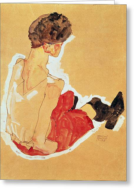 Crt Greeting Cards - Seated Woman, 1911 Tempera Greeting Card by Egon Schiele