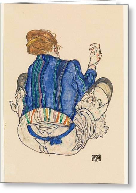 Schiele Drawings Greeting Cards - Seated Woman. Back View Greeting Card by Egon Schiele