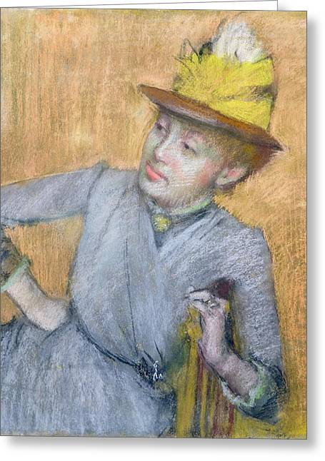 Sitting Pastels Greeting Cards - Seated Woman Greeting Card by Edgar Degas