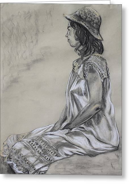 Three Quarter Sleeves Greeting Cards - Seated Woman in a White Dress and Straw Hat Greeting Card by Asha Carolyn Young
