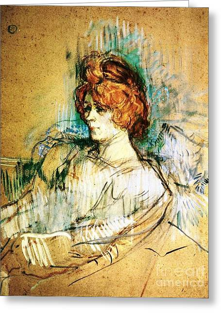 Cardboard Greeting Cards - Seated Woman Greeting Card by Pg Reproductions