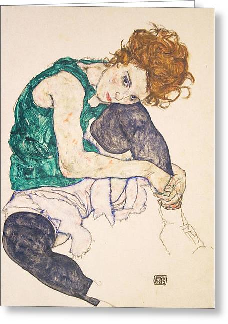 Adele Paintings Greeting Cards - Seated Woman with Legs Drawn Up. Adele Herms Greeting Card by Egon Schiele