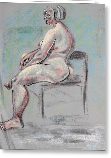 Gray Hair Pastels Greeting Cards - Seated Woman with Silver Hair Greeting Card by Asha Carolyn Young