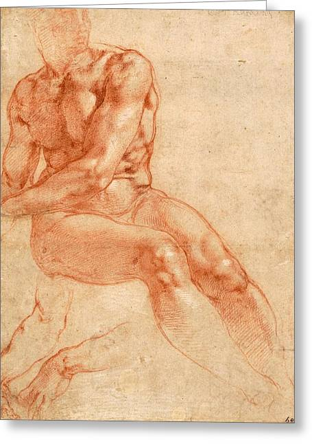 1510 Paintings Greeting Cards - Seated Young Male Nude and Two Arm Studies Greeting Card by Michelangelo Buonarroti