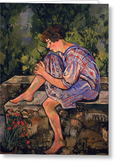 Youthful Paintings Greeting Cards - Seated Young Woman Greeting Card by Marie Clementine Valadon