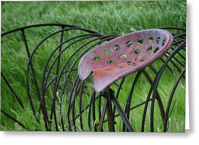 Hay Rake Greeting Cards - Seating for One - Vintage Hay Rake Seat  Greeting Card by Nikolyn McDonald