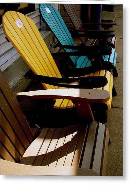 Lawn Chair Greeting Cards - Seats For Sale Greeting Card by Gilbert Photography And Art
