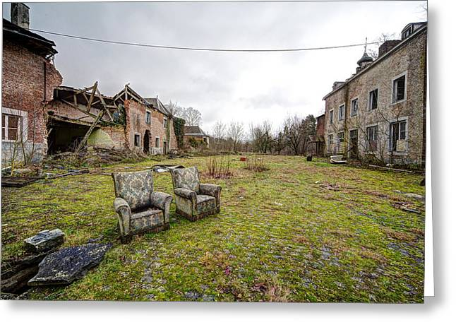 seats for two Abandoned places Greeting Card by Dirk Ercken