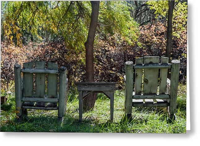 Park Benches Greeting Cards - Seats In the Park Greeting Card by Sheryl Cox