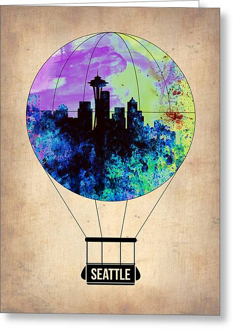 Metropolitan Greeting Cards - Seattle Air Balloon Greeting Card by Naxart Studio