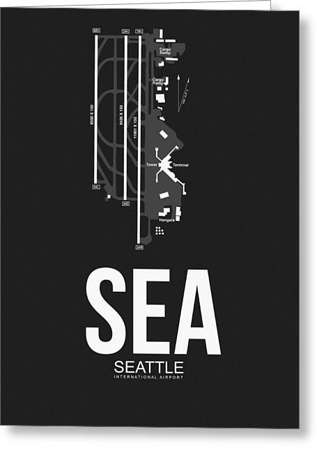 Tourists Greeting Cards - SEattle Airport Poster 1 Greeting Card by Naxart Studio