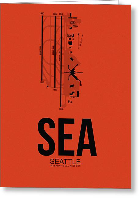 Tourists Greeting Cards - SEattle Airport Poster 2 Greeting Card by Naxart Studio