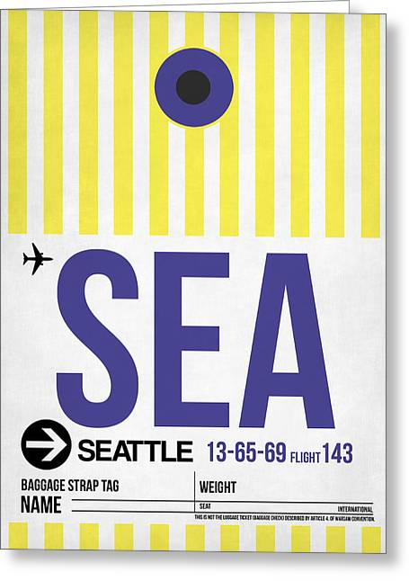 Tourists Greeting Cards - Seattle Airport Poster 3 Greeting Card by Naxart Studio