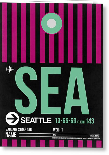 Tourists Greeting Cards - Seattle Airport Poster 4 Greeting Card by Naxart Studio