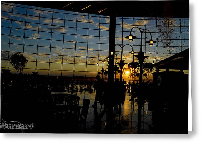 Seattle Airport Sunset Greeting Card by Guinapora Graphics