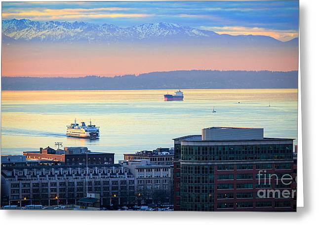 Elliott Greeting Cards - Seattle and Elliott Bay Greeting Card by Inge Johnsson
