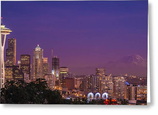 Dusk Greeting Cards - Seattle and Mt. Rainier After Dark Greeting Card by Duane Miller