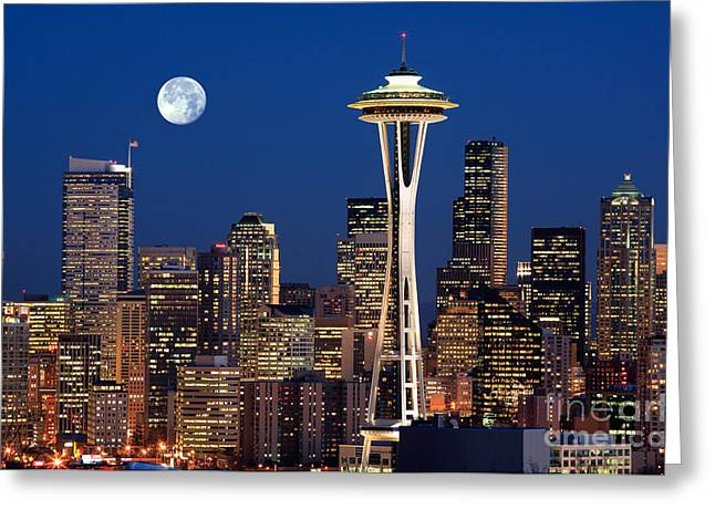 Tourists Greeting Cards - Seattle at Full Moon Greeting Card by Inge Johnsson