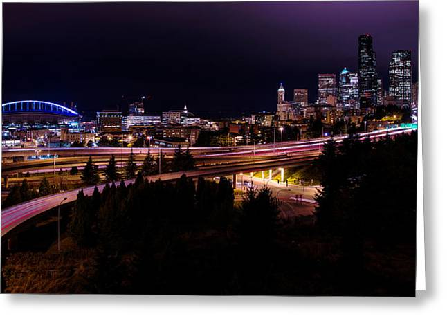 Evening Lights Greeting Cards - Seattle Bend Greeting Card by Chad Dutson