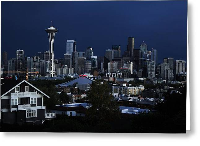 Urban Space Greeting Cards - Seattle Blues Greeting Card by Benjamin Yeager