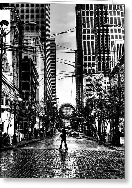 Seattle Landmarks Greeting Cards - Seattle Brick Greeting Card by David Patterson