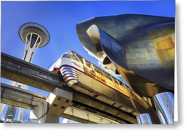 Metal Sheet Greeting Cards - Seattle Center Greeting Card by Kyle Wasielewski