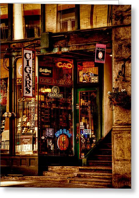 Seattle Landmarks Greeting Cards - Seattle Cigar Shop Greeting Card by David Patterson