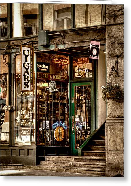 Pioneer Square Seattle Greeting Cards - Seattle Cigar Shop II Greeting Card by David Patterson