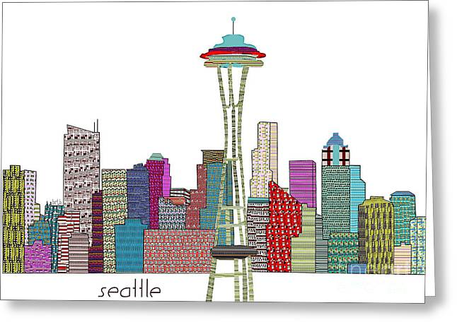 Seattle Skyline Mixed Media Greeting Cards - Seattle City  Greeting Card by Bri Buckley
