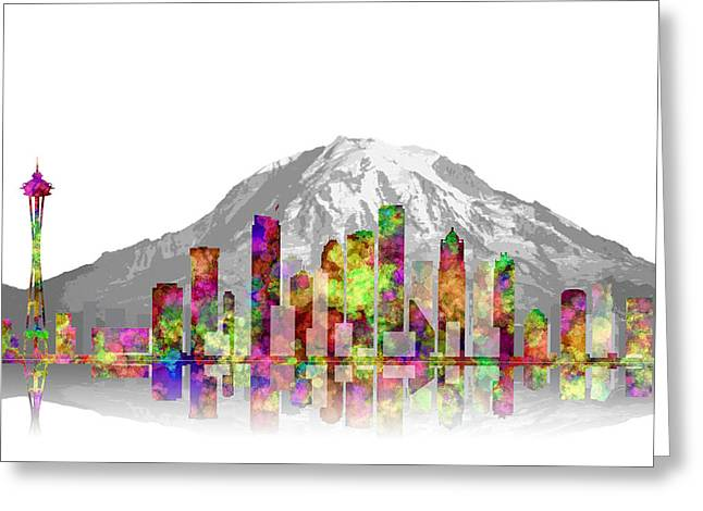Microsoft. Greeting Cards - Seattle City Skyline 3 Greeting Card by Daniel Hagerman