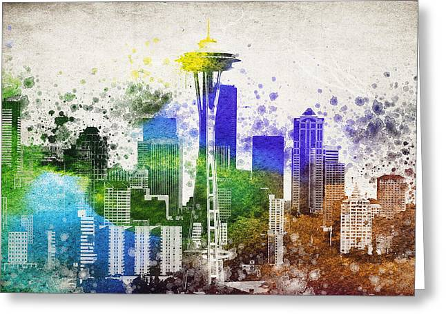 Washington State Greeting Cards - Seattle City Skyline Greeting Card by Aged Pixel
