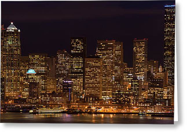 Seattle Skyline Greeting Cards - Seattle Cityscape Details Greeting Card by Mike Reid