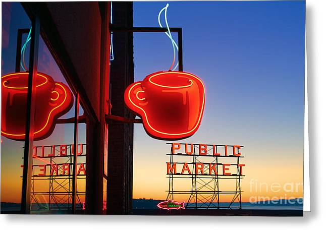 Pacific Greeting Cards - Seattle Coffee Greeting Card by Inge Johnsson