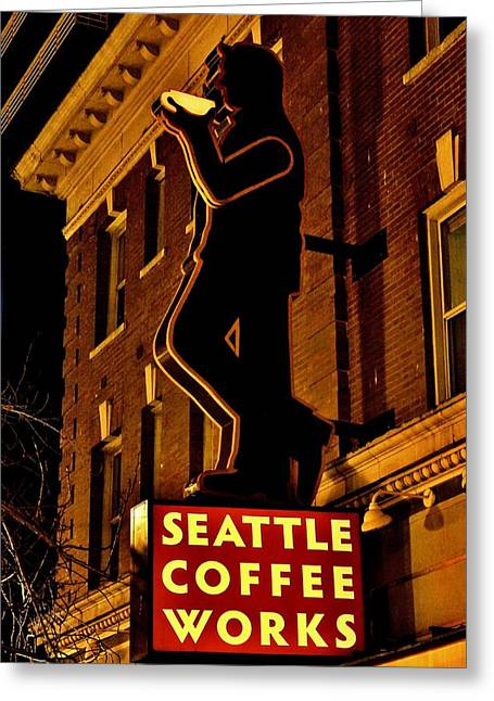Night Cafe Greeting Cards - Seattle Coffee Works Greeting Card by Benjamin Yeager