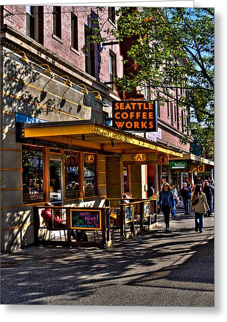 Seattle Landmarks Greeting Cards - Seattle Coffee Works II - Seattle Washington Greeting Card by David Patterson