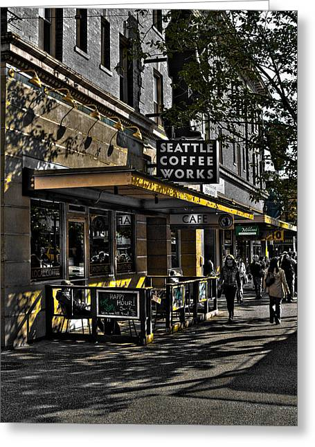 Seattle Landmarks Greeting Cards - Seattle Coffee Works - Seattle Washington Greeting Card by David Patterson