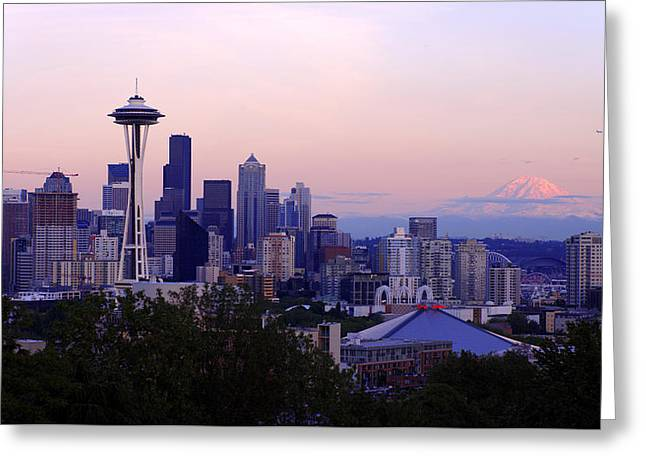 Seattle Dawning Greeting Card by Chad Dutson